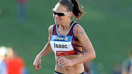 Torita Isaac of Queensland running in the women's 400m at the IPC Athletics Grand Prix in Canberra in February.