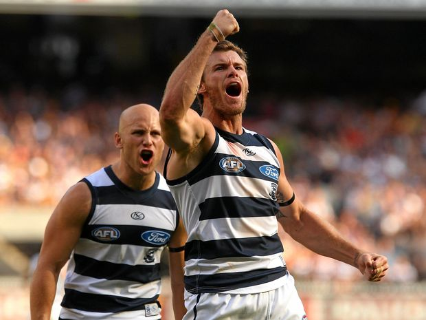 Cameron Mooney of the Cats celebrates a goal.