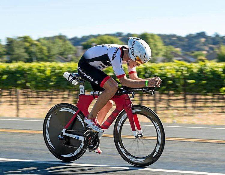 Triathlete Jake Montgomery, 22, was injured when his bicycle and a car collided at Diddillibah.