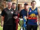 South Toowoomba captain Dan Lyon, coach Shaun Reardon, University coach Tony Bullen and captain Cory Balnaves ahead of the AFL Darling Downs grand final. Thursday, September 8, 2016.