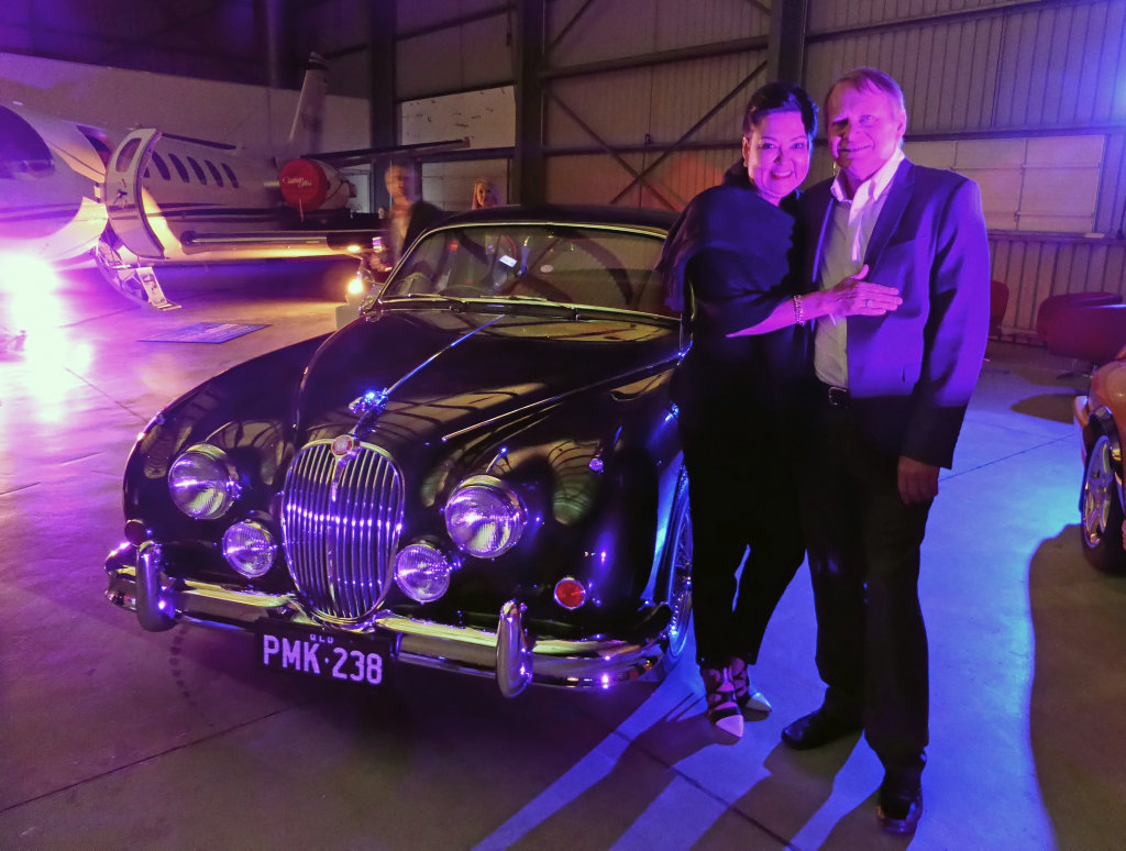 Sue and Peter Foster with their Jaguiar MkII 3.8 at the Pacific Jaguar launch of the Jaguar F-Pace SUV at Sunshine Coast Airport. Photo: Contributed