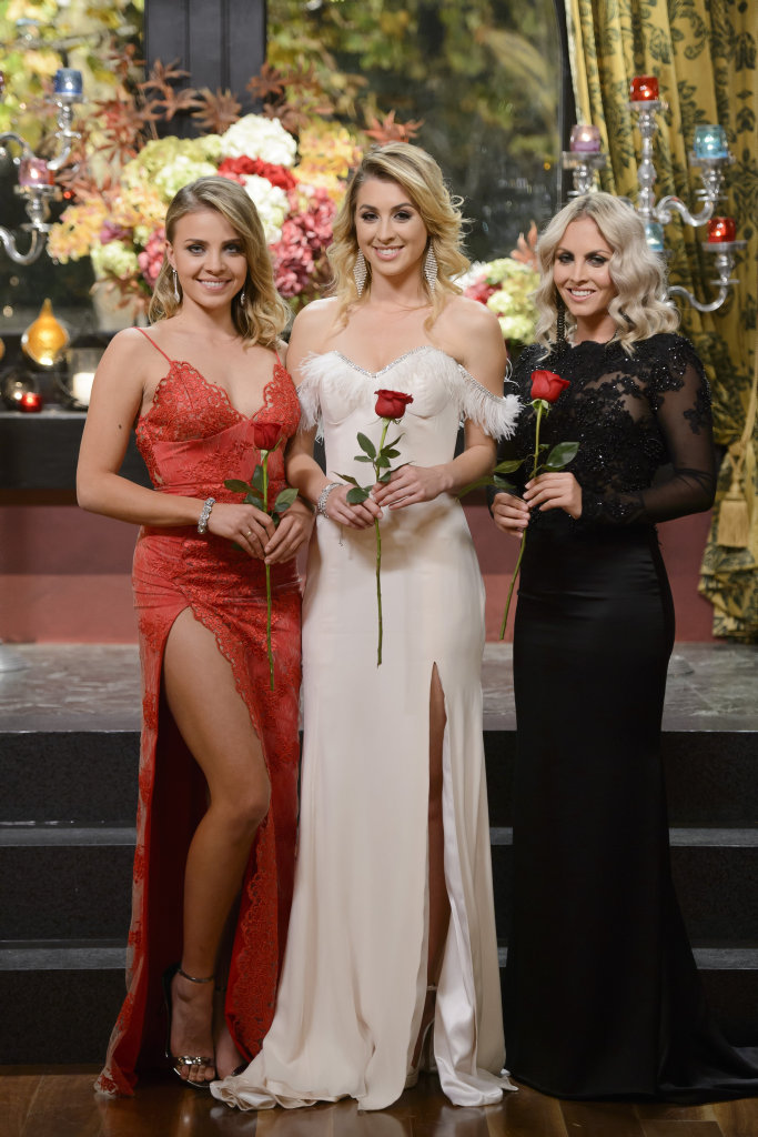 The Bachelor's final three, from left, Olena, Alex and Nikki. Supplied by Channel 10.