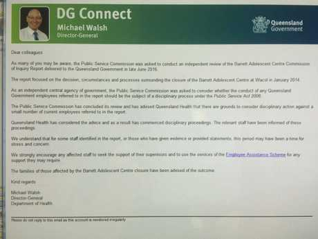 Email sent to Queensland Health staff from Director General Michael Walsh.