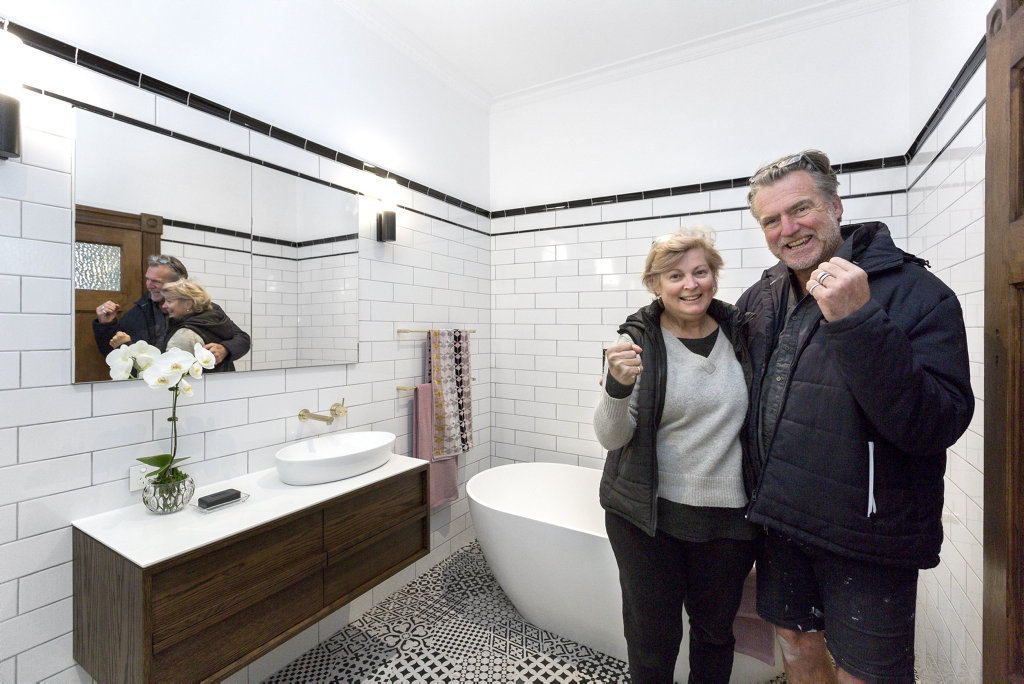 Dan and Carleen in their winning guest bathroom in a scene from The Block.