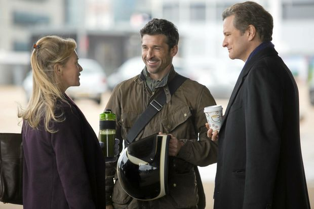 Renee Zellweger, Patrick Dempsey and Colin Firth in a scene from Bridget Jones's Baby.