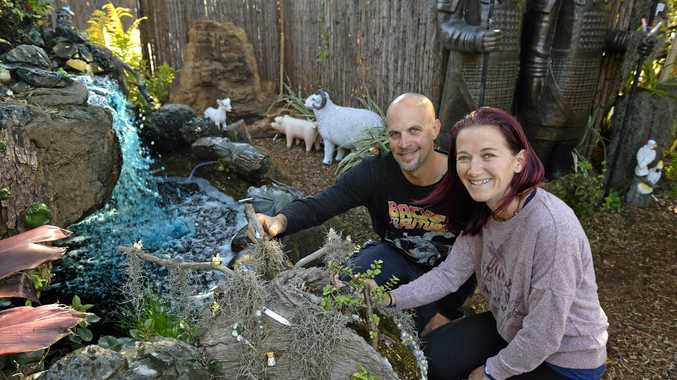 GARDEN OASIS: Shaun and Renee Morriss from Creative Oasis with their business entry for The Chronicle Garden Competition.