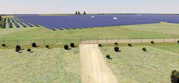 An artist's impression of a solar farm.