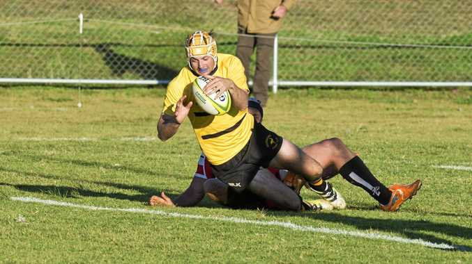 Winger Sean Cairns about to plant a try for Goondiwindi during the Emus preliminary final win over Toowoomba Rangers last Saturday at Gold Park.