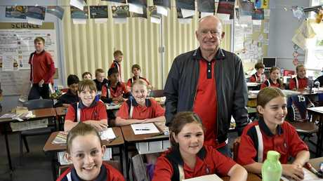 Teacher retires from Rangeville State School. Rangeville State School teacher Denis OBrien with his Year Five class. September 10, 2016