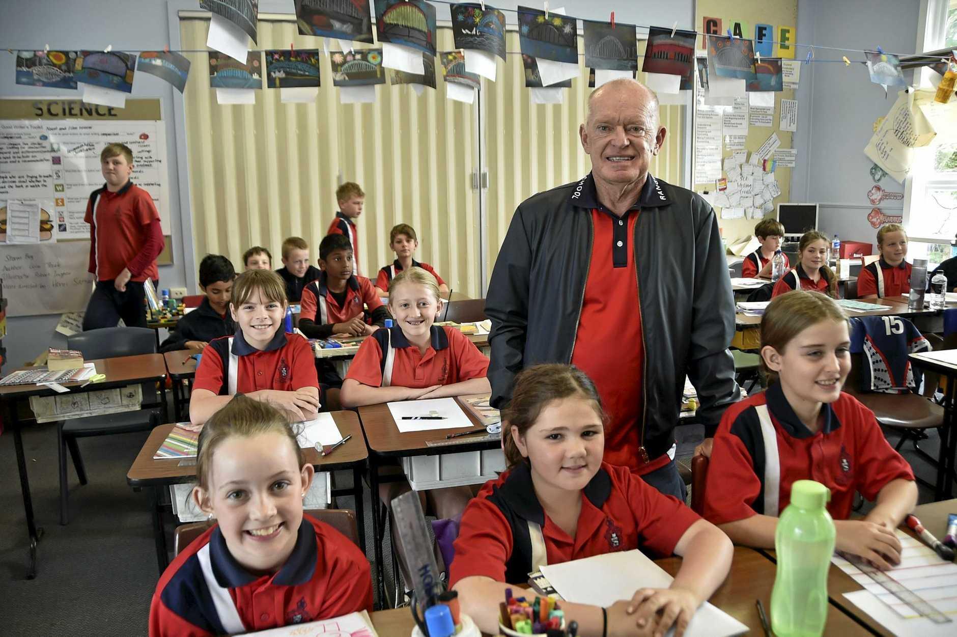 Teacher retires from Rangeville State School. Rangeville State School teacher Denis OBrien with his Year Five class. September 10, 2016