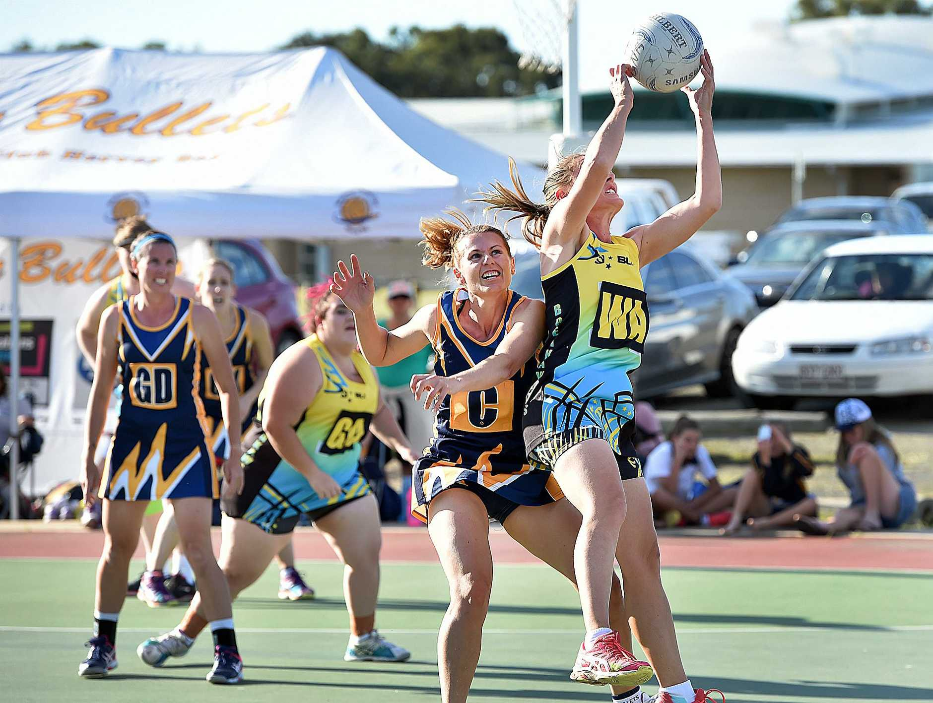 Hervey Bay netball semi-final - Bullets Boscia V. Breakaways Bayside. Breakaways wing attack Renee Searle.