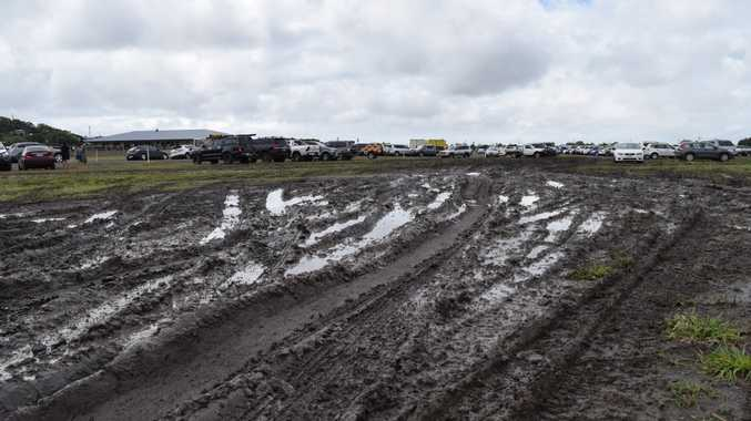 Car parks at the Mackay and Regional Football Zone in Glenella were left muddy and boggy on Saturday.