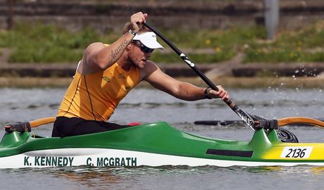 McGrath on his way to win the men's V1 200m final of the Canoe Sprint World Championships 2014 in Moscow