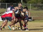 Highfields Eagles player Rihari Peeti in a tackle against Warwick Cowboys in TRL at Kuhls Road Sporting Complex, Sunday, June 07, 2015. Photo Kevin Farmer / The Chronicle