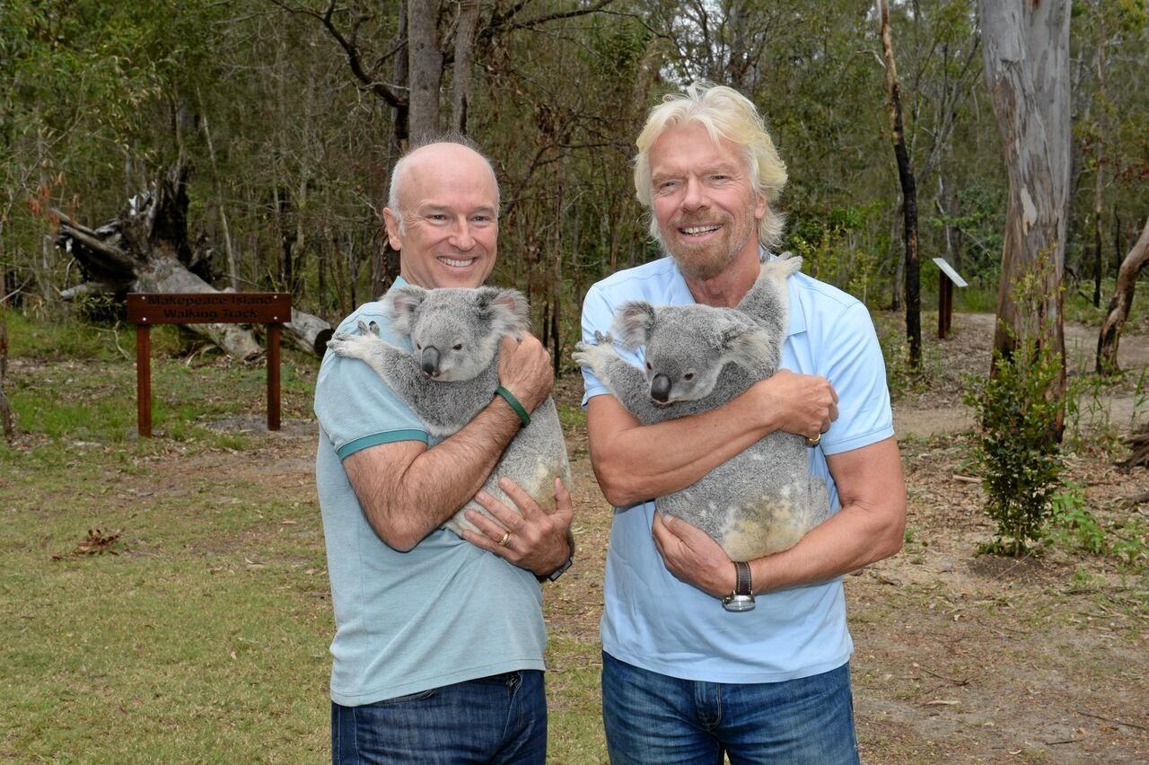 Makepeace Island owners Brett Godfrey and Sir Richard Branson.