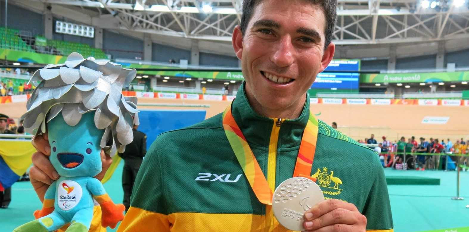 Sunshine Coast-based rider Kyle Bridgwood with his silver medal in Rio.