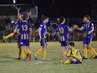 The Waves celebrate. Wide Bay League grand final: United Warriors v The Waves at Hervey Bay Sports Club.