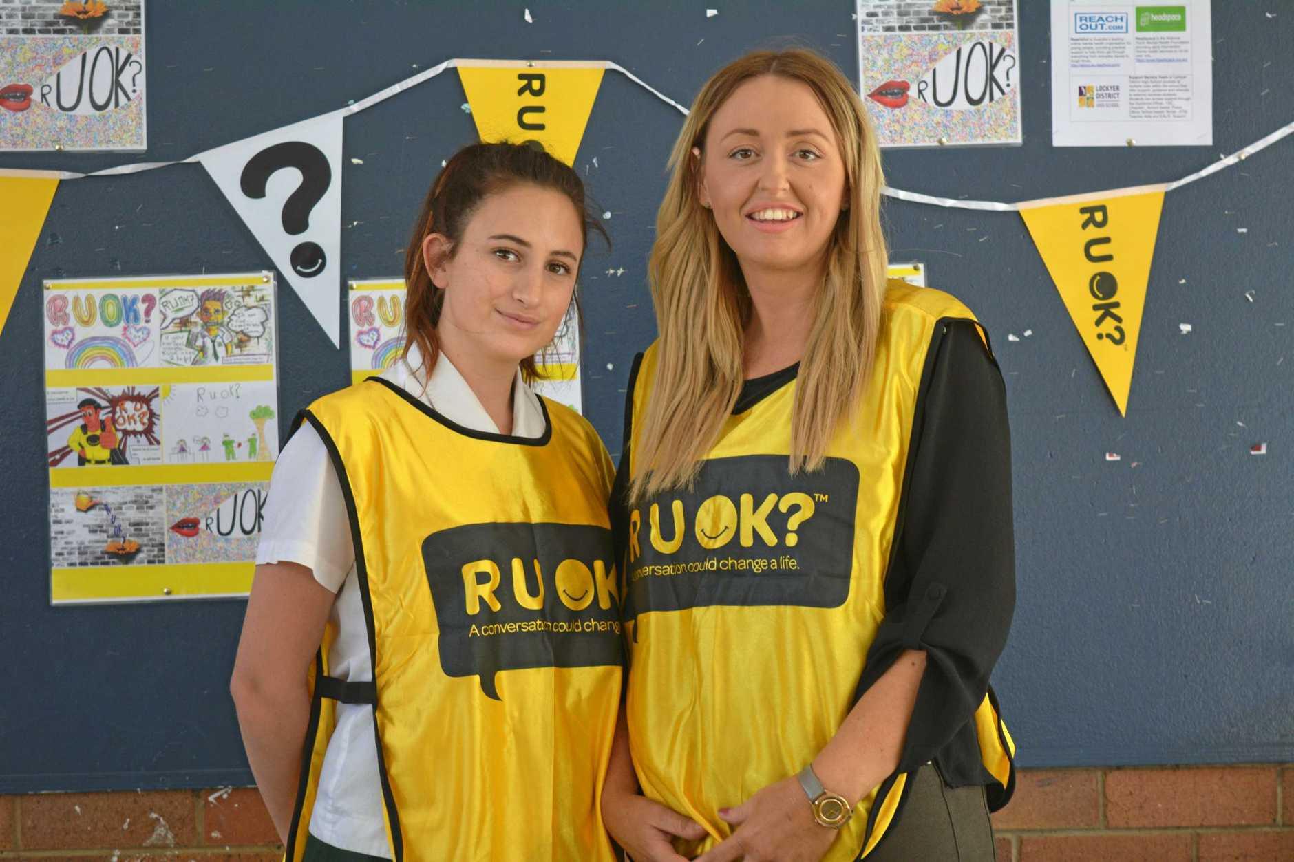Amber Schroen and Silva Johansen organised the R U OK? Day stall.