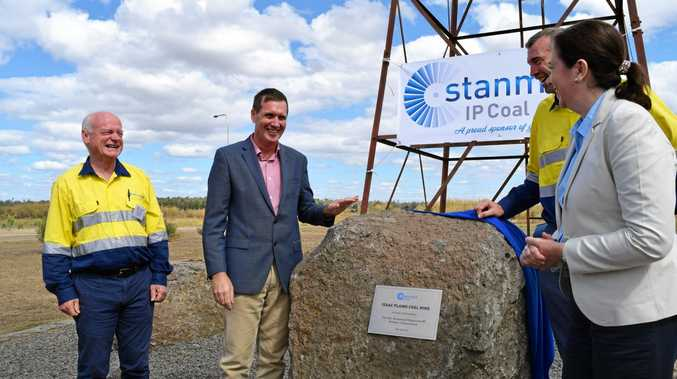 GOOD TIMING: State minister for mines Dr Anthony Lynham, Premier Anastacia Palaszczuk, Stanmore Coal chairman Neville Sneddon and Stanmore Coal managing director Nick Jorss officially opened the CQ coking coal mine in May.