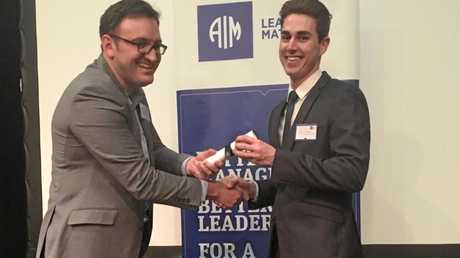 GOING PLACES: The AIM Leadership Excellence Awards judge Ben Gouldson (left) with Simon Playford, who was the Toowoomba winner of the student leader category.