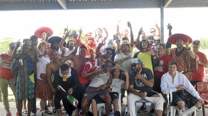 MADNESS: South Grafton Rebels celebrate on Mad Monday at McKittrick Park.