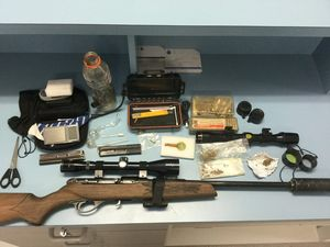 Rifle, drugs and more than 200 rounds of ammo seized