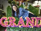 Grand Central marketing manager Marieke McIntyre. Grand Central float, designed by Joy Heylen from Urban Visual Arts & Sculpture in Toowoomba. Carnival of Flowers 2016.
