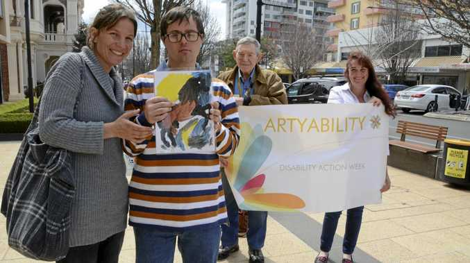 COLOURFUL WORK: Showing off artwork for the Artyability Exhibition are (from left) Lee-Anna Redding, Tim Nunn, RSL office administrator Joseph Treers and Toni Mitchell.