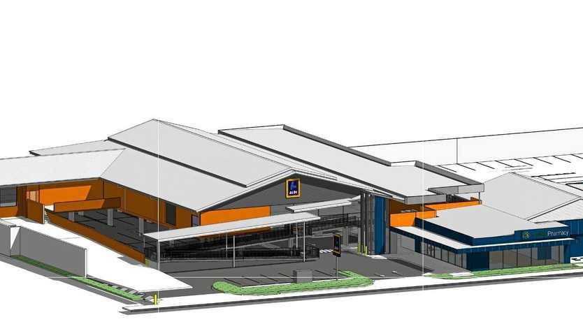 Plans show the proposed outcome for the redevelopment of the Aldi supermarket and adjoining chemist and radiology clinic on Caloundra Rd in Caloundra.