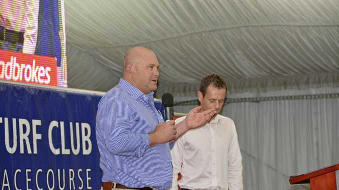 Former leading Australian trainer Peter Moody (left), with Roger Oldridge, speaking at Saturday night's Clifford Park Racing Awards.