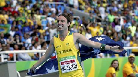 Australia's Brayden Davidson celebrates after winning the gold medal in the men's long jump T36 athletics event of the Paralympic Games in Rio de Janeiro, Brazil, Monday, Sept. 12, 2016. (AP Photo/Mauro Pimentel)