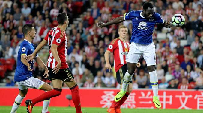 Everton's Romelu Lukaku scores the opening goal during the English Premier League match between Sunderland and Everton at the Stadium of Light in Sunderland.