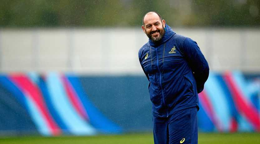 Wallabies scrum coach Mario Ledesma looks on during a training session.