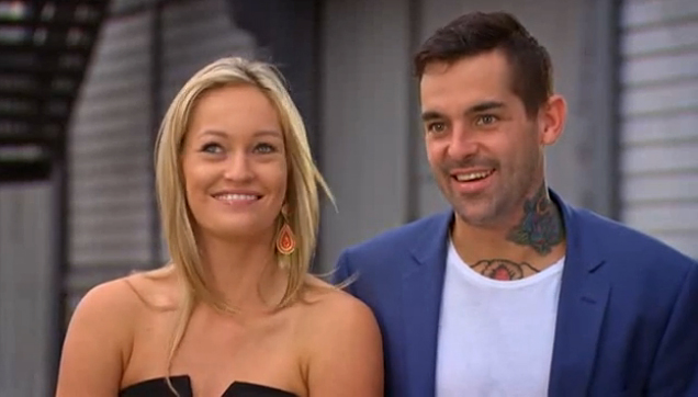 Nicole and Keller in a scene from the Married At First Sight finale.