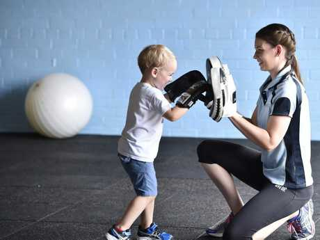 KYLIE'S FITNESS: Keeping mum's fit while keeping children happy is the goal for Kylie Klein from Kylie's fitness. Her business in Station Street is designed so Mum and bub's can enjoy a fitness workout. Kylie's three year old son, Jett enjoys a workout with mum.