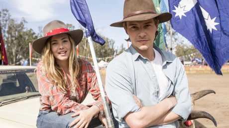 Morgan Griffin and Xavier Samuel in a scene from the movie Spin Out.