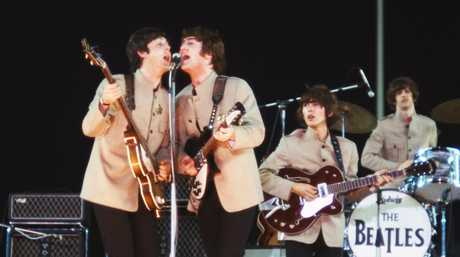 The Beatles pictured in a scene from the movie The Beatles: Eight Days a Week - The Touring Years.