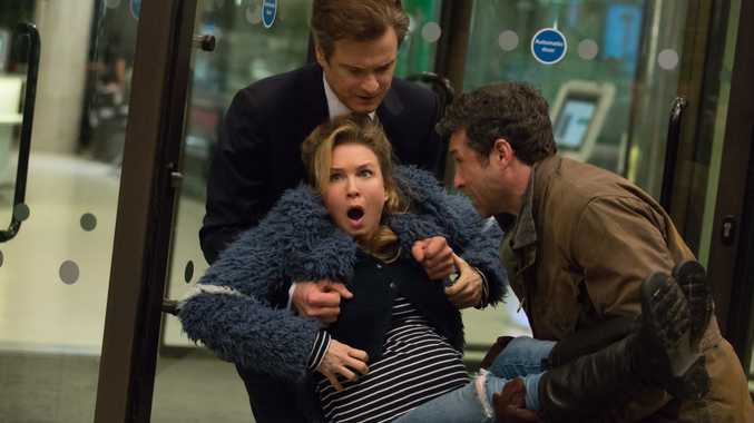 Renee Zellweger, Colin Firth and Patrick Dempsey in a scene from Bridget Jones's Baby.