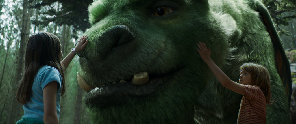 Oakes Fegley and Oona Laurence in a scene from the movie Pete's Dragon.