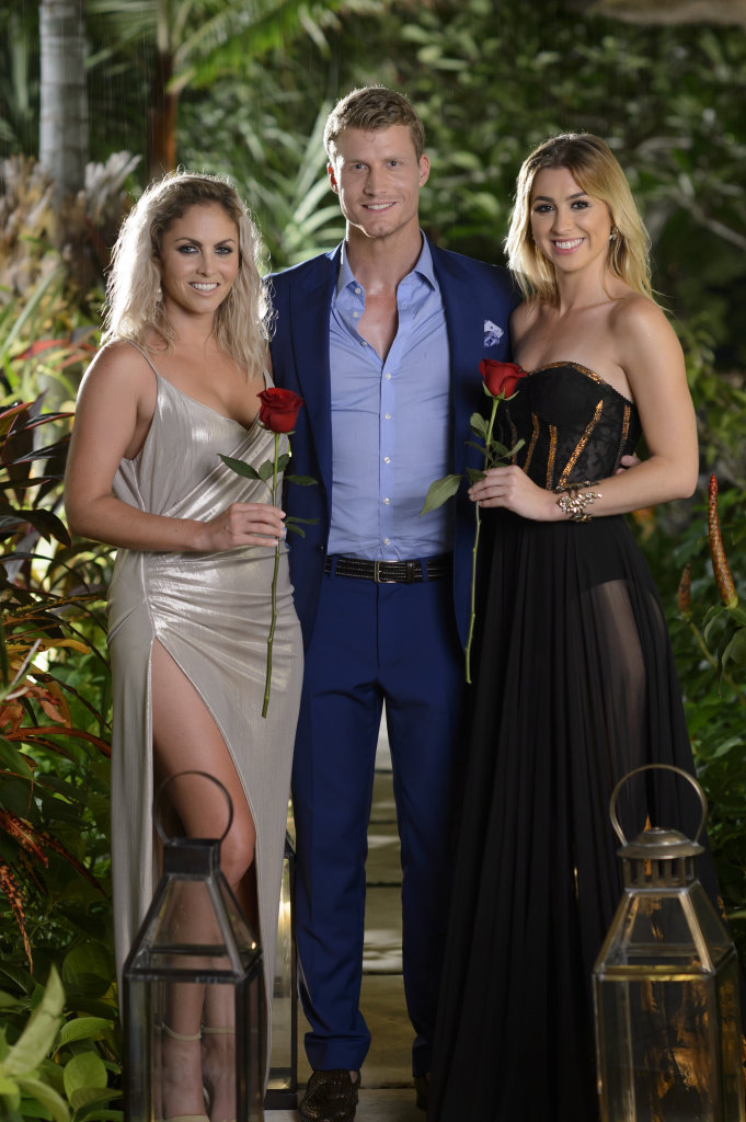 Richie Strahan with The Bachelor finalists Nikki Gogan, left, and Alex Nation.
