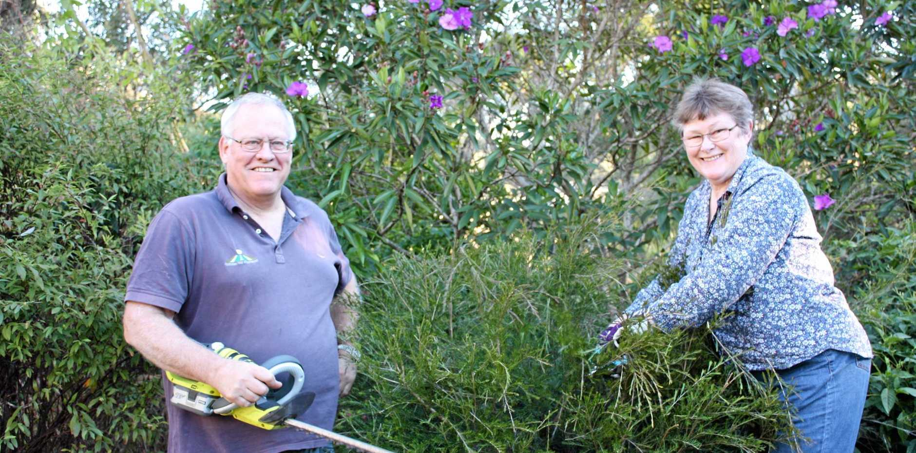 GROWING INTEREST: Geoff and Maria Bell at work in their own garden at Heritage Park.