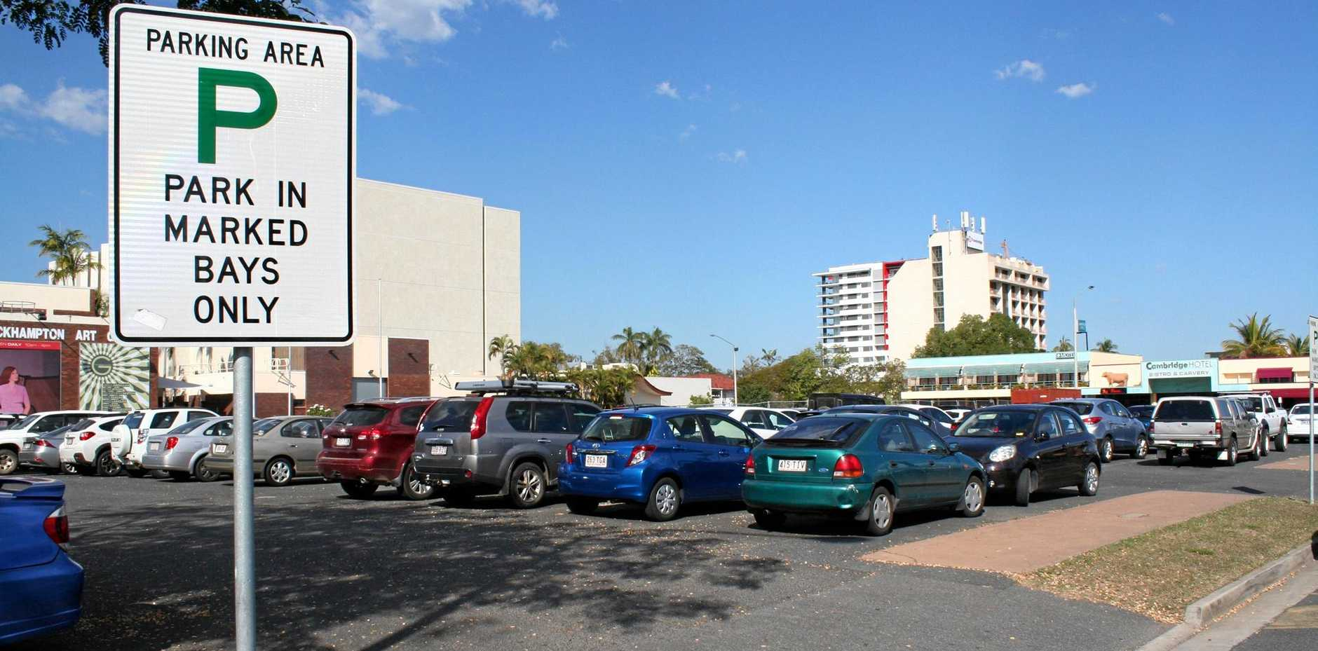 The Pilbeam Theatre car park pictured in 2014, before the introduction of paid parking at the site.