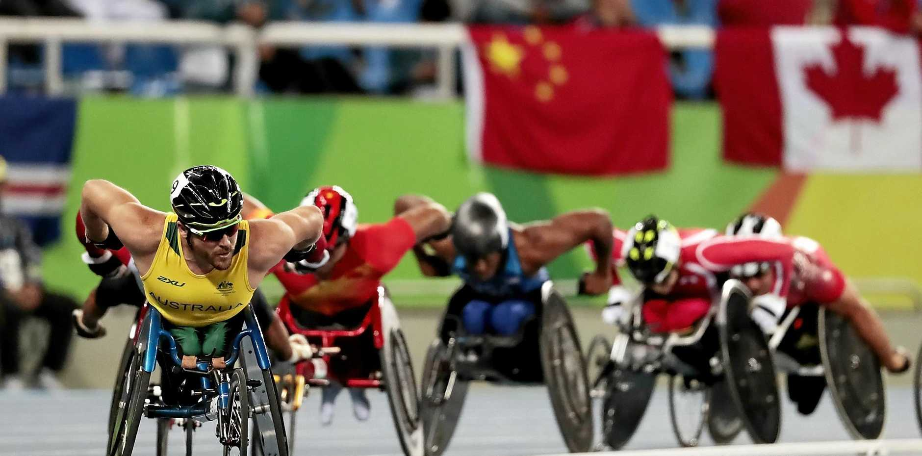 Kurt Fearnley of Australia on the track at the Rio 2016 Paralympic Games.