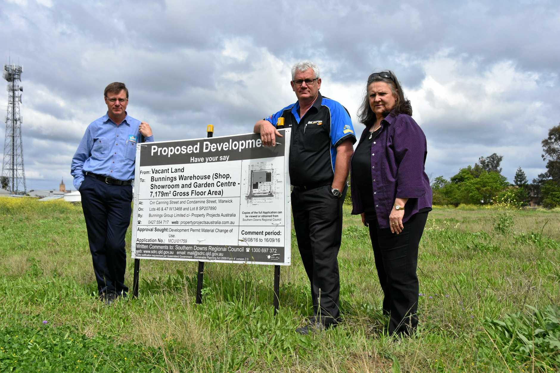 STORM BREWING: Alan Olsen, David Kemp and Helen Harm all hold grave concerns over the proposed Bunnings development.