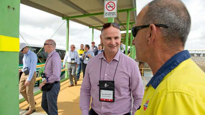 MAKING A LIST: Glenn Butcher MP and Brian Coonerty at the Australia Pacific LNG Commemorative Event in March.