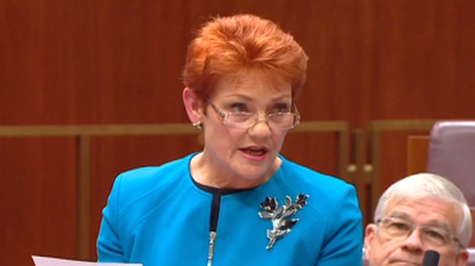 Pauline Hanson makes her maiden speech in Federal Parliament. (Screenshot ABC)