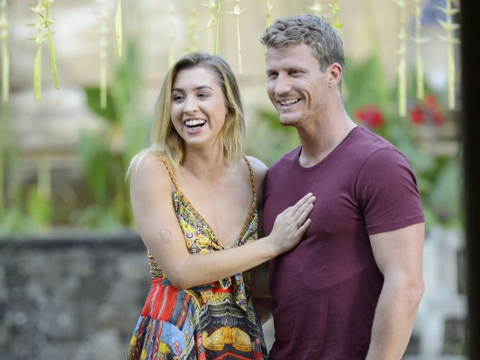 Richie Strahan and The Bachelor winner Alex Nation pictured in Bali.