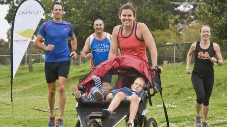PARKRUNNERS: ( from left ) Runners Chris Smith, Ian Wickham, Zoe with Miller, 1 and Farrer, 4, Burke and Monique Tudman . Thursday Sep 15 , 2016.