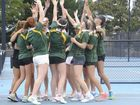 North Coast celebrate the NSW CHS Girls Tennis Championship victory at Grafton Tennis Centre on Thursday, 15th of September, 2016.Photo Bill North / Daily Examiner