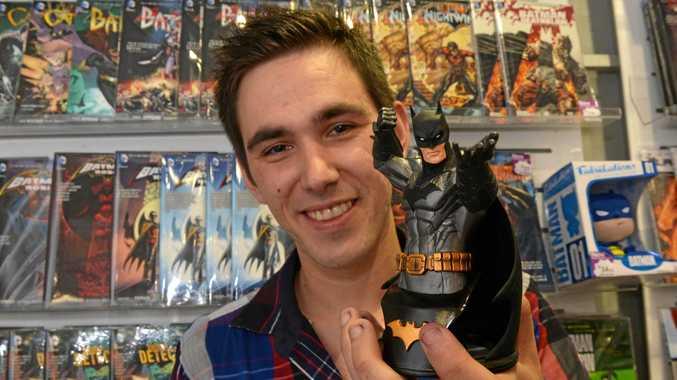 Batman fan Carlos Zoubakin at the previous Gametraders store in Caneland Central.